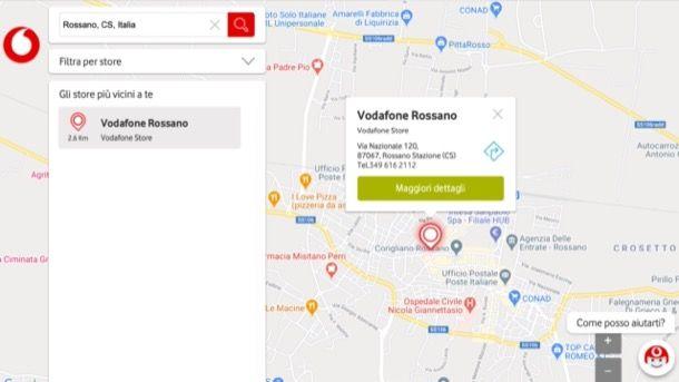 Copertura negozi Vodafone