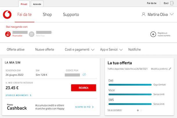 Area online Vodafone