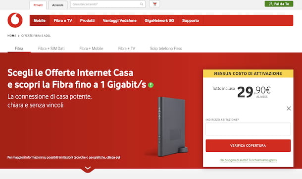 Verifica copertura fibra Vodafone