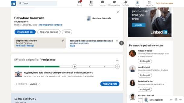 Completare profilo LinkedIn