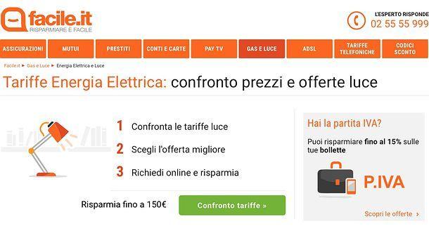 Come confrontare tariffe luce