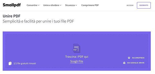 Come unificare due PDF