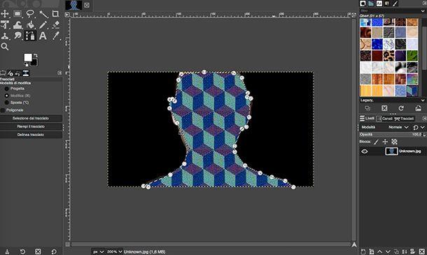 Applicazione per fotomontaggi strumento Riempi GIMP