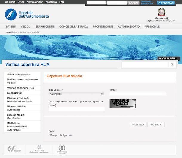 Come verificare copertura RCA