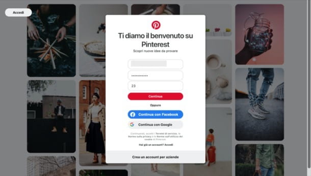 Registrarsi su Pinterest da desktop