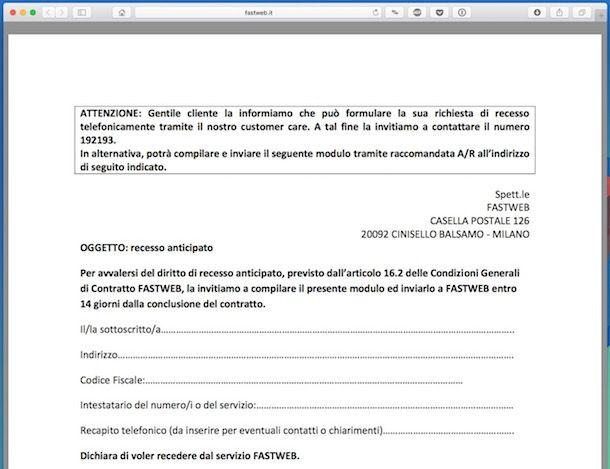 Disdetta contratto Fastweb