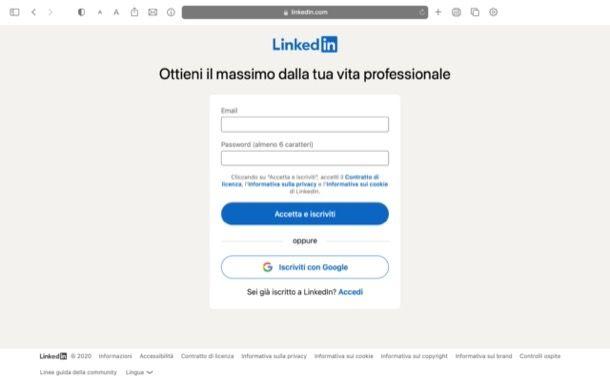 Registrarsi su LinkedIn
