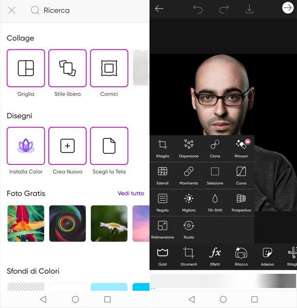Applicazione per fotomontaggi PicsArt Photo Editor
