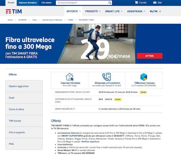 Copertura fibra ottica Telecom