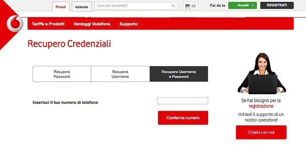 Come sbloccare profilo Vodafone