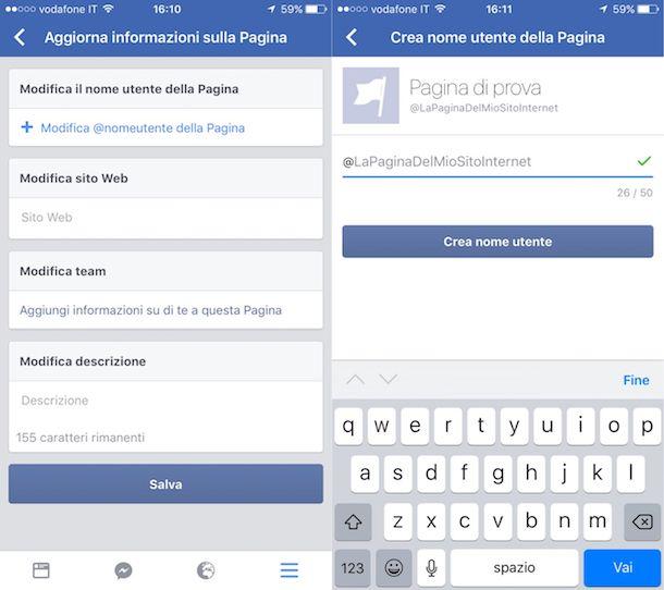 Come cambiare nome pagina Facebook