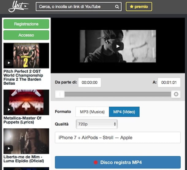 scaricare musica da youtube online mp4