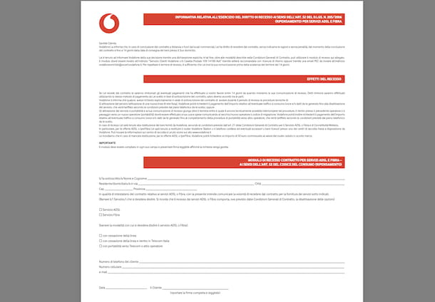Modulo recesso Vodafone 14 giorni