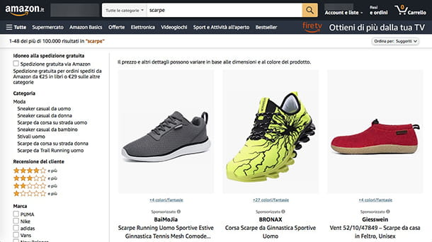Siti per comprare scarpe Amazon