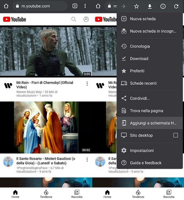 Aggiungere icona Home YouTube