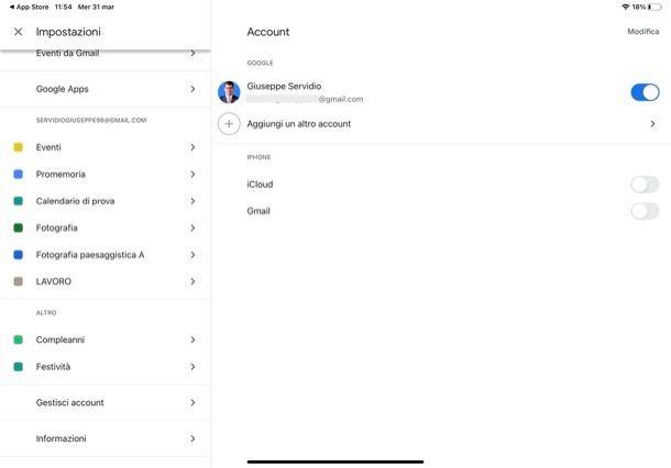 Cambiare account Google Calendar