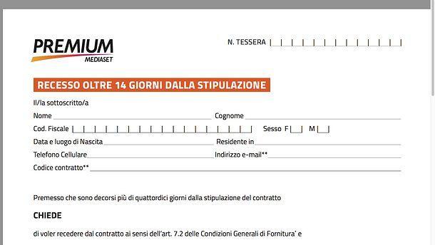 Disdire Mediaset Premium modulo
