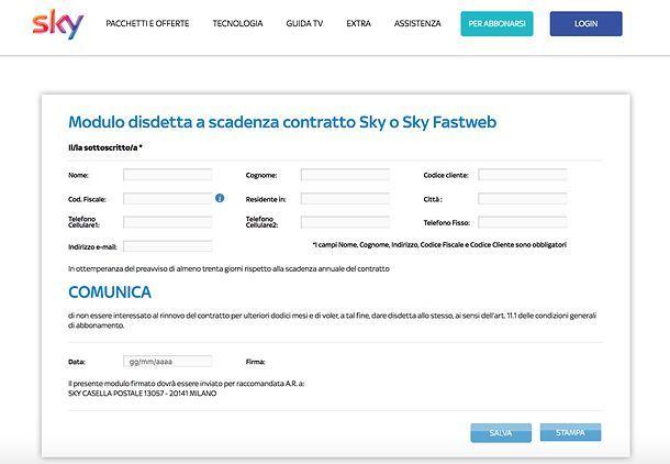 Modulo disdetta Sky PDF