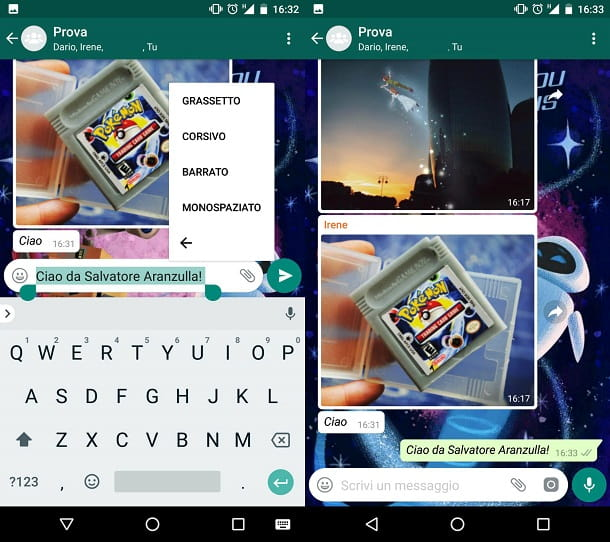 Come scrivere in grassetto corsivo e barrato su WhatsApp
