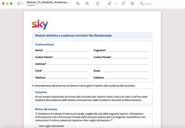 Modulo disdetta Sky dopo 14 giorni