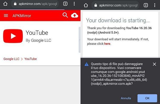 Come aggiornare YouTube senza Play Store