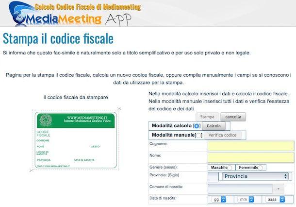 Come stampare codice fiscale