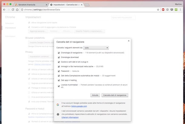 Come cancellare cronologia Google Chrome