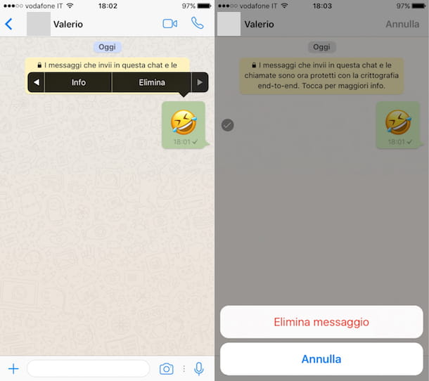 Come cancellare messaggio WhatsApp