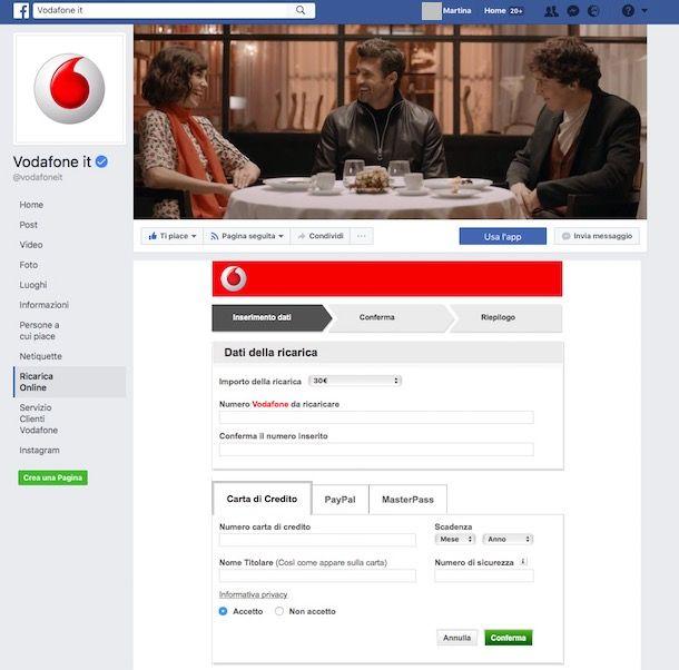 Come ricaricare numero Vodafone