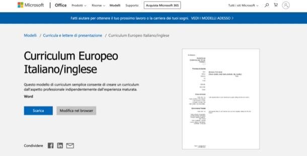 Curriculum europeo Word
