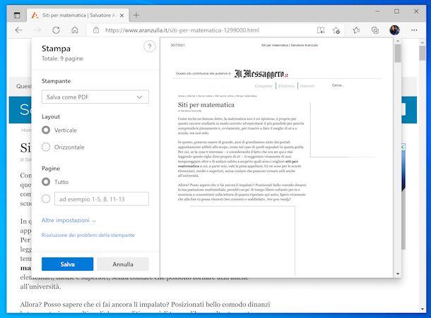Stampante virtuale PDF Windows 10