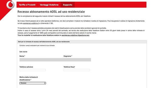 Modulo disdetta Vodafone
