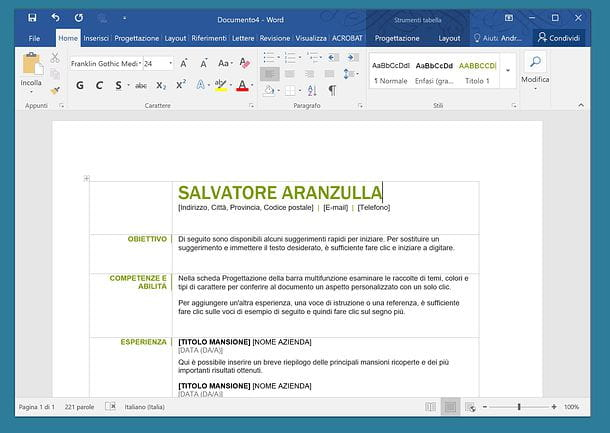Come Fare Un Curriculum Vitae Con Word Salvatore Aranzulla