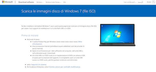 Windows 7 download sito Microsoft