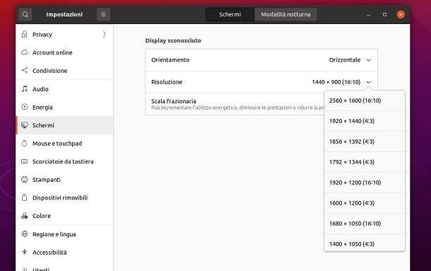 Cambiare risoluzione schermo Ubuntu