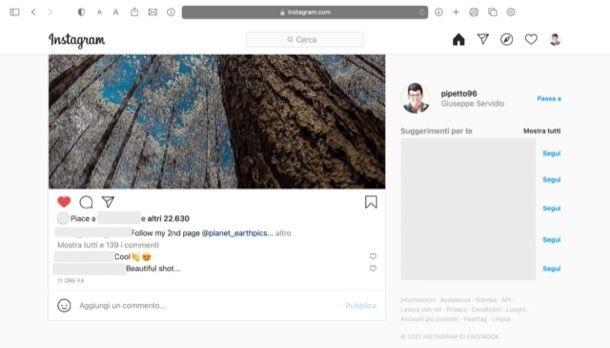 Pagina di Instagram Web
