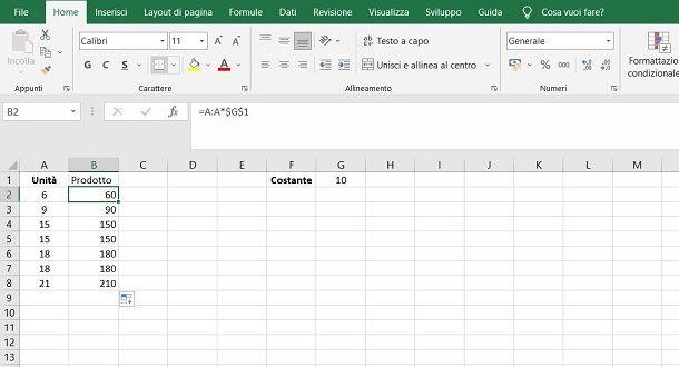 Come moltiplicare tutte le celle per una costante in Excel