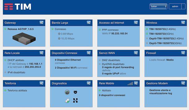 Come accedere al router: TIM Hub