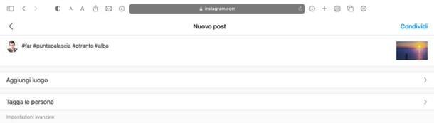 Postare un contenuto su Instagram da PC