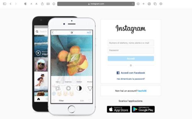 Pagina di accesso Instagram Web