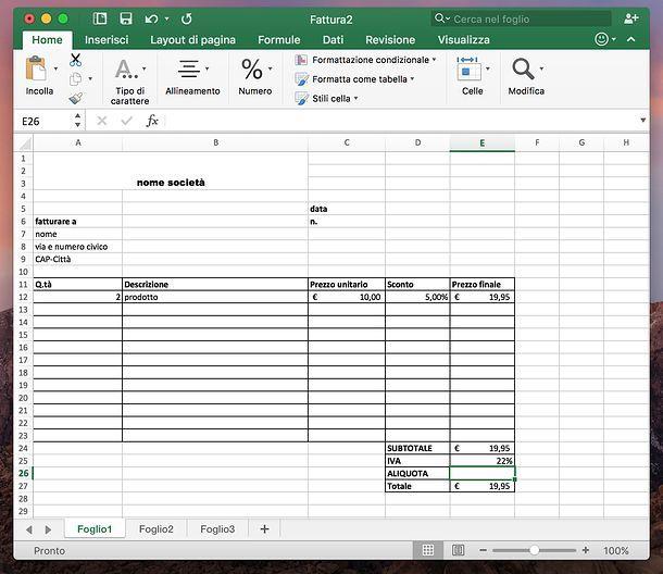 Fattura Excel Gratis Ahgreenfields