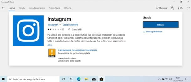 Instagram per Windows 10