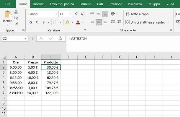 Come moltiplicare ore per euro in Excel