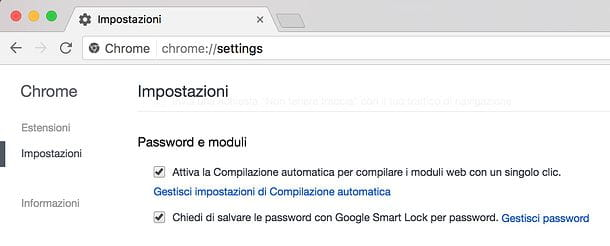 Come memorizzare password su Google Chrome