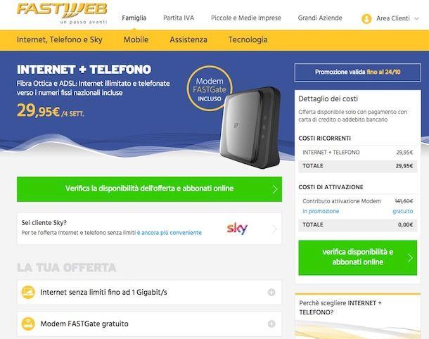 Offerte Fibra ottica Fastweb