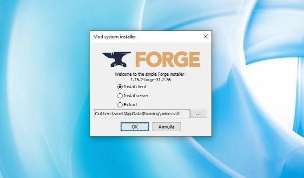 Installare Forge Minecraft