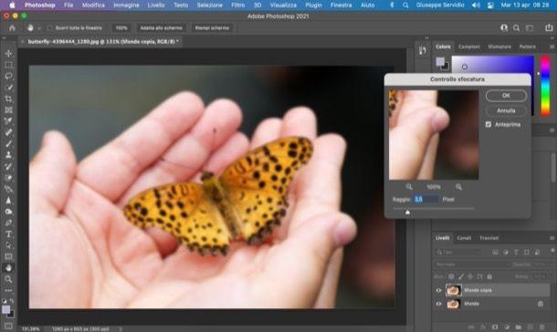 Controllo sfocatura Photoshop