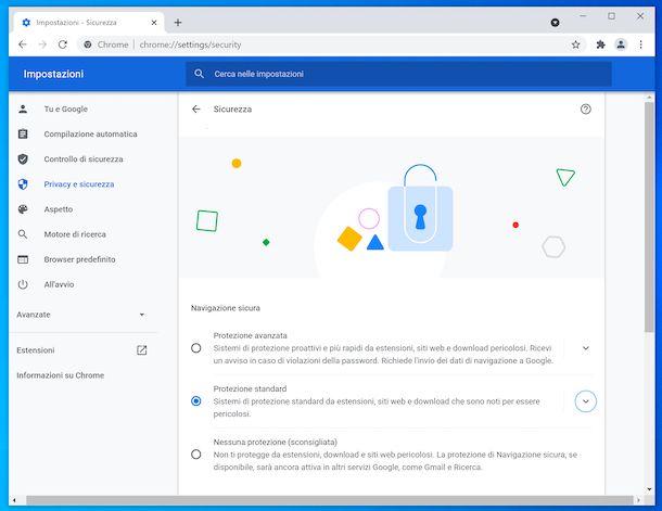 Navigazione sicura Chrome