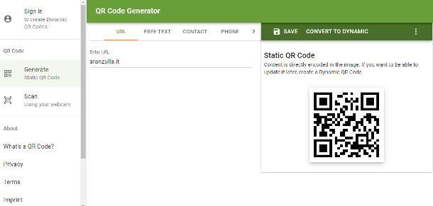 Come generare un QR Code