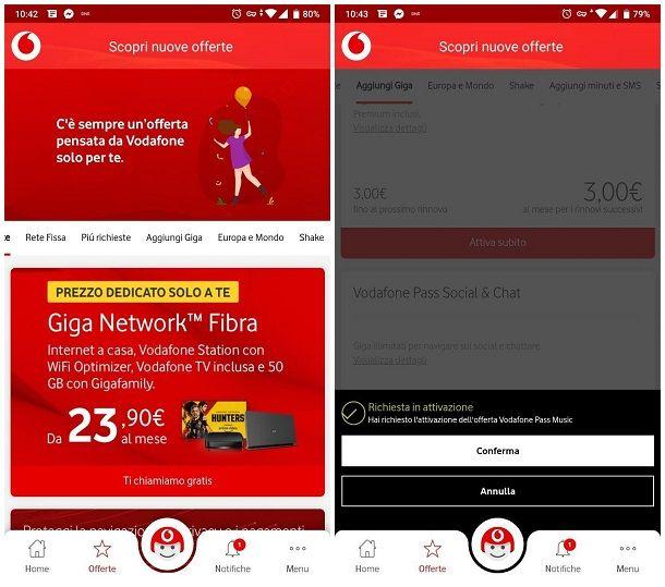 Come aggiungere Giga Vodafone tramite app